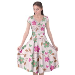 Pink Vintage Flowers Cap Sleeve Wrap Front Dress