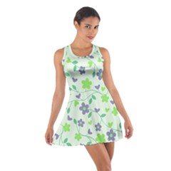 Green Vintage Flowers Cotton Racerback Dress