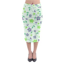 Green Vintage Flowers Midi Pencil Skirt