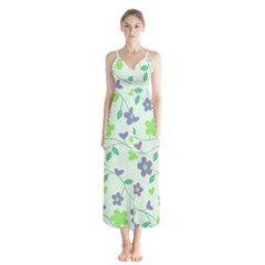 Green Vintage Flowers Button Up Chiffon Maxi Dress