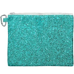Aqua Glitter Canvas Cosmetic Bag (xxxl) by snowwhitegirl
