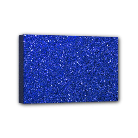 Blue Glitter Mini Canvas 6  X 4