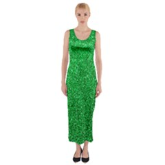Green Glitter Fitted Maxi Dress