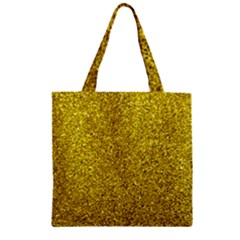 Gold  Glitter Zipper Grocery Tote Bag