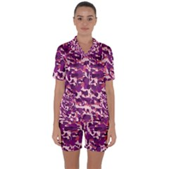 Pink Camo Satin Short Sleeve Pyjamas Set
