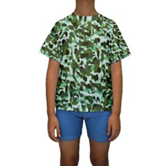 Green Camo Kids  Short Sleeve Swimwear