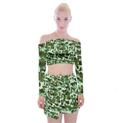 Green Camo Off Shoulder Top With Mini Skirt Set