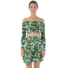 Green Camo Off Shoulder Top With Skirt Set