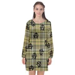 Yellow Plaid Anarchy Long Sleeve Chiffon Shift Dress