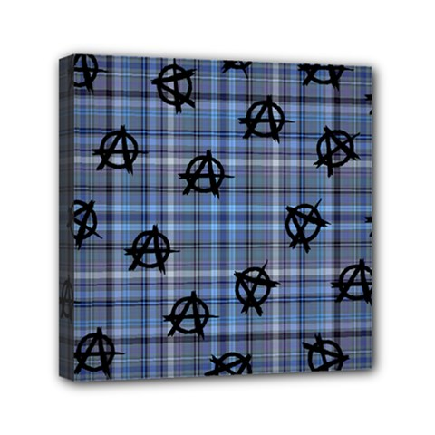 Blue  Plaid Anarchy Mini Canvas 6  X 6