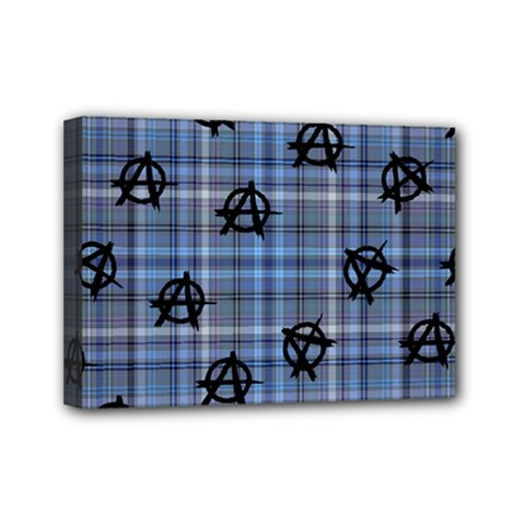 Blue  Plaid Anarchy Mini Canvas 7  X 5