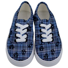 Blue  Plaid Anarchy Kids  Classic Low Top Sneakers