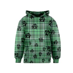 Green  Plaid Anarchy Kids  Pullover Hoodie