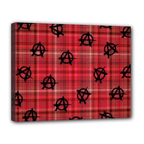 Red Plaid Anarchy Canvas 14  X 11