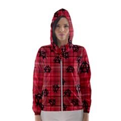 Red Plaid Anarchy Hooded Windbreaker (women)
