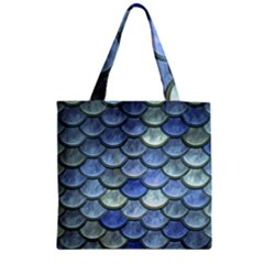 Blue Mermaid Scale Zipper Grocery Tote Bag by snowwhitegirl