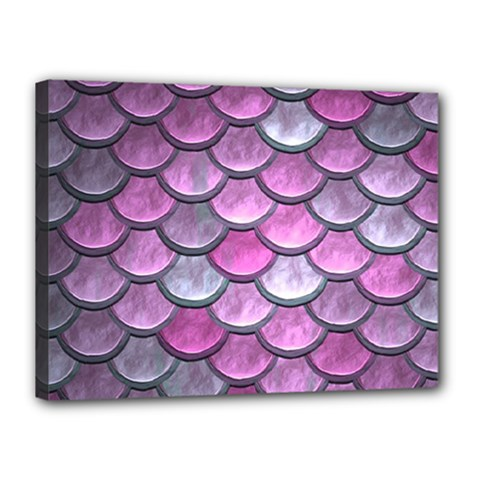 Pink Mermaid Scale Canvas 16  X 12