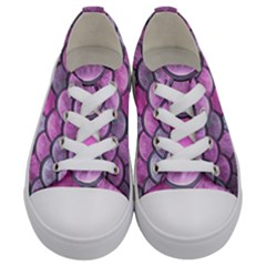 Pink Mermaid Scale Kids  Low Top Canvas Sneakers