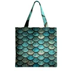 Aqua Mermaid Scale Grocery Tote Bag