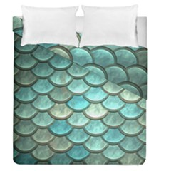 Aqua Mermaid Scale Duvet Cover Double Side (queen Size) by snowwhitegirl