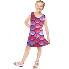 Red Mermaid Scale Kids  Tunic Dress