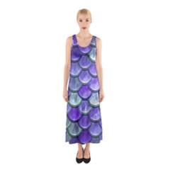 Blue Purple Mermaid Scale Sleeveless Maxi Dress