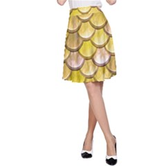 Yellow  Mermaid Scale A Line Skirt
