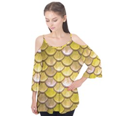 Yellow  Mermaid Scale Flutter Tees