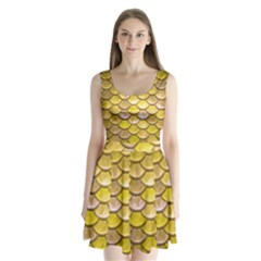 Yellow  Mermaid Scale Split Back Mini Dress