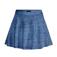 Blue Denim Mini Flare Skirt