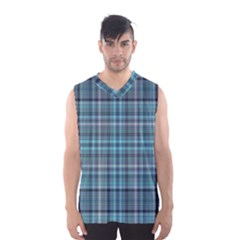 Teal Plaid Men s Basketball Tank Top