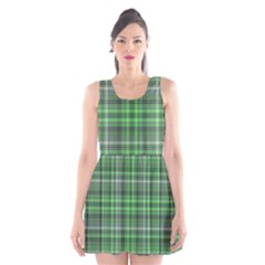 Green Plaid Scoop Neck Skater Dress