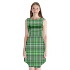 Green Plaid Sleeveless Chiffon Dress
