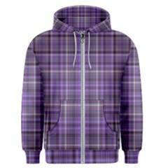 Purple  Plaid Men s Zipper Hoodie