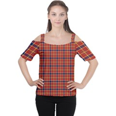 Red Yellow Plaid Cutout Shoulder Tee