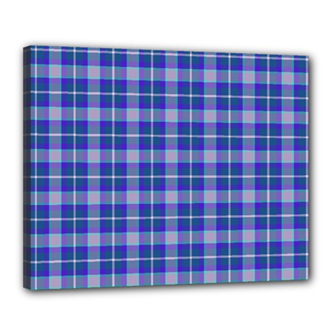 Blue Teal Plaid Canvas 20  X 16