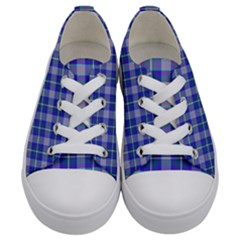Blue Teal Plaid Kids  Low Top Canvas Sneakers