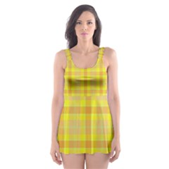 Yellow Sun Plaid Skater Dress Swimsuit