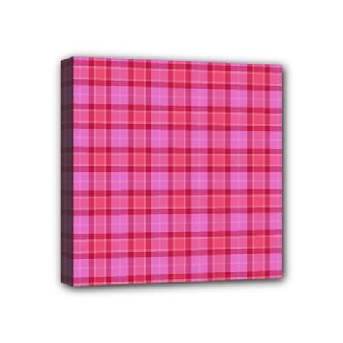 Valentine Pink Red Plaid Mini Canvas 4  X 4  by snowwhitegirl