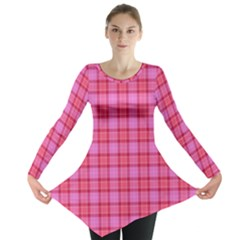 Valentine Pink Red Plaid Long Sleeve Tunic