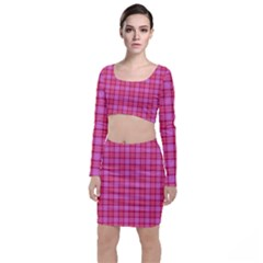 Valentine Pink Red Plaid Long Sleeve Crop Top & Bodycon Skirt Set