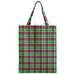 Pink Green Plaid Zipper Classic Tote Bag
