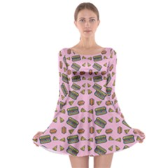 Fast Food Pink Long Sleeve Skater Dress