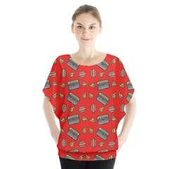 Fast Food Red Blouse
