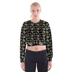 Fast Food Black Cropped Sweatshirt