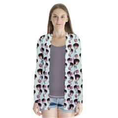 Redhead Girl Blue Drape Collar Cardigan