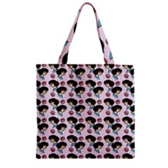 Redhead Girl Pink Zipper Grocery Tote Bag