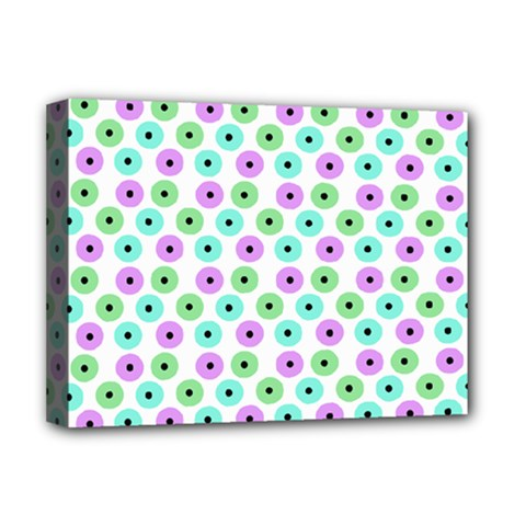 Eye Dots Green Violet Deluxe Canvas 16  X 12