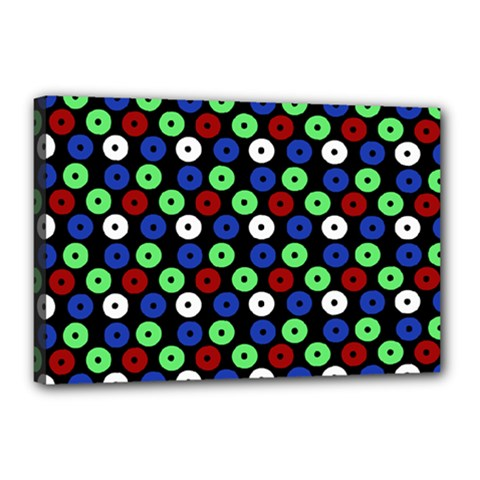Eye Dots Green Blue Red Canvas 18  X 12