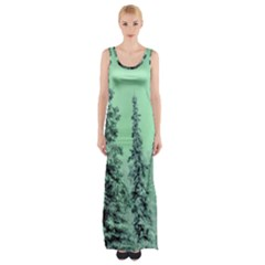 Winter Trees Maxi Thigh Split Dress